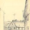 Zeichnung, Dorfstrasse in sachsen, Martha krug, Zeichnungen