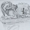 Nördlingen, Bleistiftzeichnung, Schnitzkunst, Zeichnungen