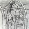 Architektur, Gotik, Fenster, Bleistiftzeichnung