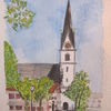 Prien, Kirche, Aquarellmalerei, Aquarell