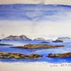 Norwegen, Landschaft, Aquarellmalerei, Aquarell