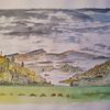 Landschaft, Norwegen, Aquarellmalerei, Aquarell