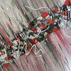 Abstrakt, Rot, Schwarz weiß, Acrylmalerei