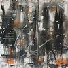 Schwarz weiß, Gemälde, Malerei abstrakt, Acrylmalerei