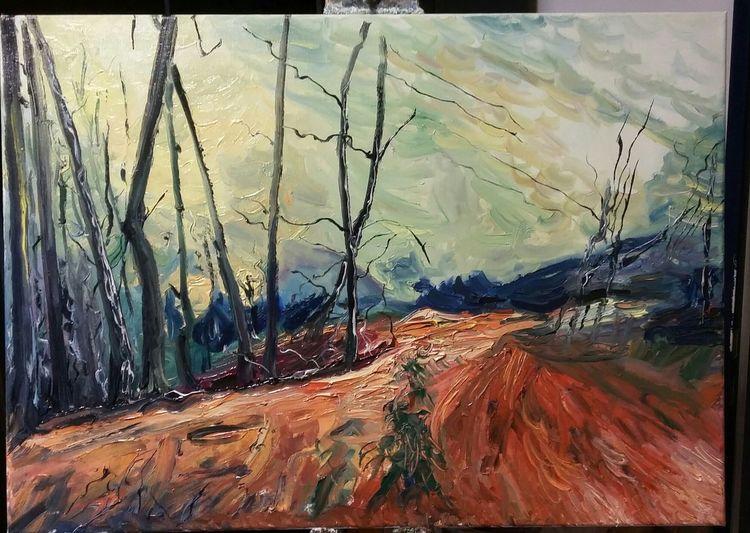 Ölmalerei, Früh, Die einsame fichte, Landschaft, Malerei, Fichte