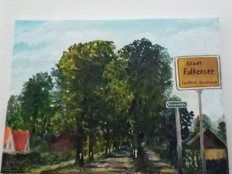 Ehrfurcht, Lindenallee, Grün, Baum, Malerei,