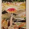 Herbst, Pilze, Laub, Aquarell