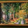 Baumallee, Buntes laub, Herbst, Malerei
