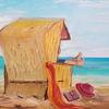 Strand, Meer, Strandkorb, Malerei