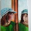 Spiegel, Mädchen, Portrait, Malerei