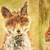 Fuchs, Eichhörnchen, Aquarellmalerei, Aquarell