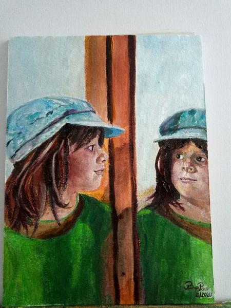 Portrait, Spiegel, Mädchen, Malerei