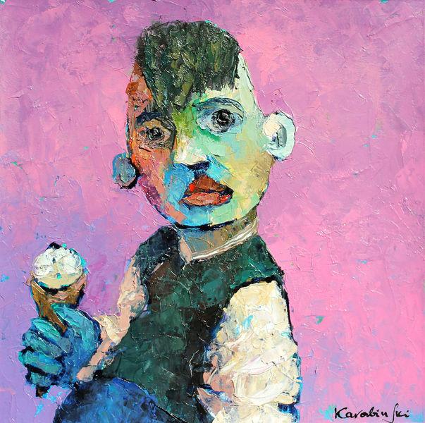 Kind, Portrait, Auf karton, Ölmalerei, Junge mit eis, Figurativ