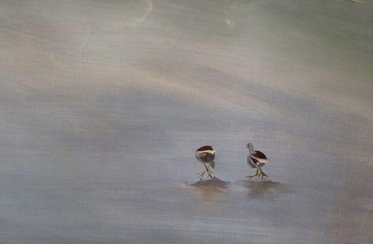 Zweisamkeit, Vogel, Eis, Einsamkeit, Malerei