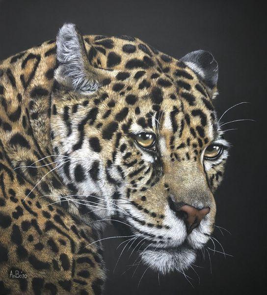 Pastellmalerei, Tierportrait, Jaguar, Leopard, Malerei