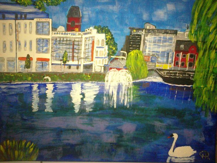 Abstrakte malerei, Gebäude, Stadt, Malerei, Innenstadt, Teich