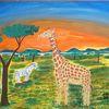 Tiere, Landschaft, Malerei, Afrika