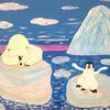 Comic, Abstrakte malerei, Landschaft, Eisbär