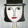 Hut, Menschen, Frau, Malerei