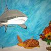 Hai, Abstrakte malerei, Unterwasserwelt, Malerei