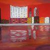 Abstrakte malerei, Stadt, Hafen, Malerei
