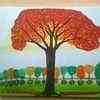 Jahreszeiten, Baum, Abstrakte malerei, Landschaft