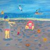 Landschaft, Abstrakte malerei, Menschen, Meer