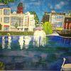 Abstrakte malerei, Gebäude, Stadt, Malerei