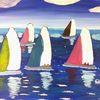 Sport, Abstrakte malerei, Segelboot, Malerei
