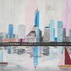 Abstrakte malerei, Skyline, Stadt, Fantasie