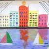 Meer, Landschaft, Stadt, Abstrakte malerei