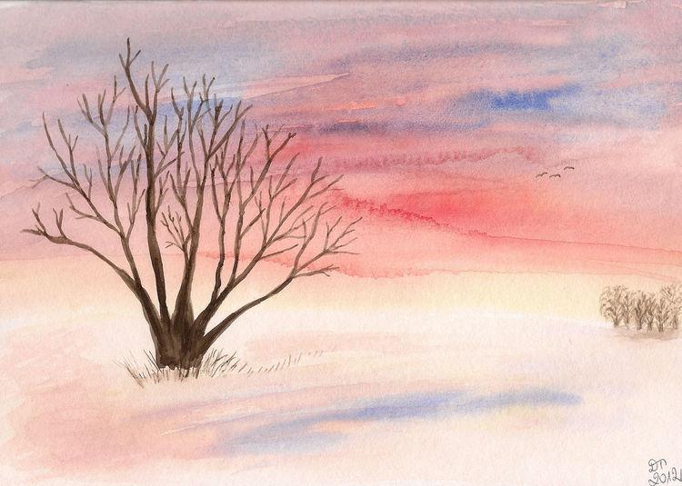 Natur, Landschaft, Sonnenuntergang, Winter, Aquarell, Winterabend