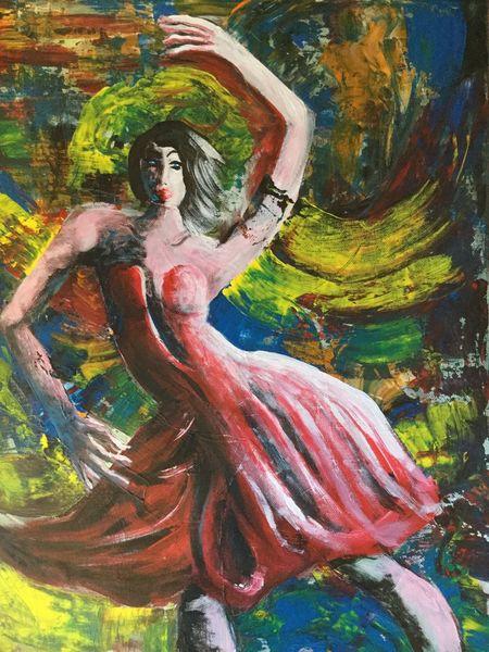 Tanz, Frau, Ausdruck, Farben, Schwingen, Tango