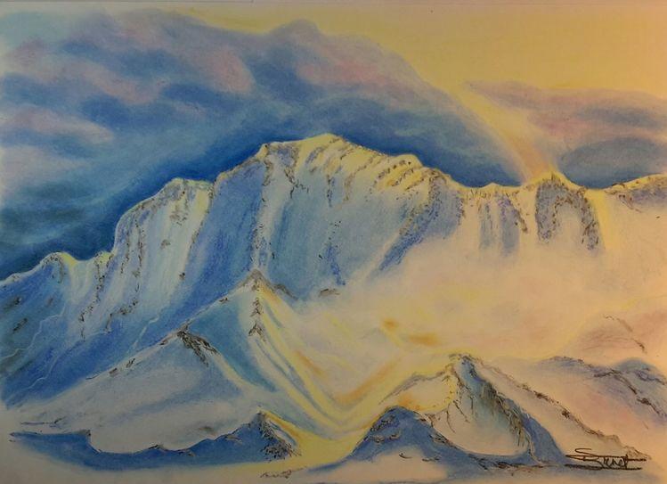 Berge, Schnee, Licht, Malerei