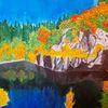 Herbst, See, Berge, Aquarell
