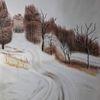 Schnee, Waldweg, Winter, Malerei