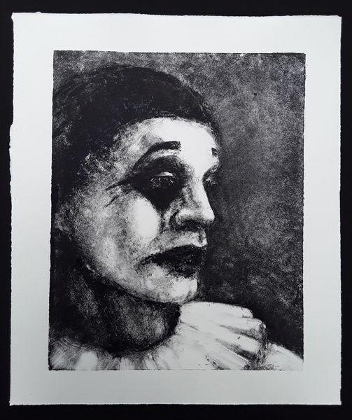 Pierrot, Clown, Monotyping, Zeichnungen