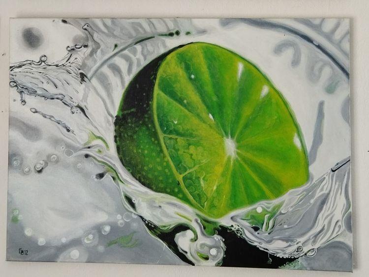 Limetten, Wasser, Platsch, Malerei