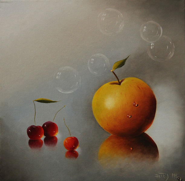 Früchte, Spiegelung, Rot, Apfel, Tropfen, Grau