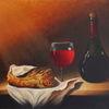 Brot, Rotwein, Tisch, Ölmalerei