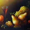 Pfirsich, Spiegelung, Ölmalerei, Birne