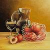 Stillleben, Glas, Licht, Ölmalerei