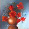 Ölmalerei, Vase, Rot, Grau