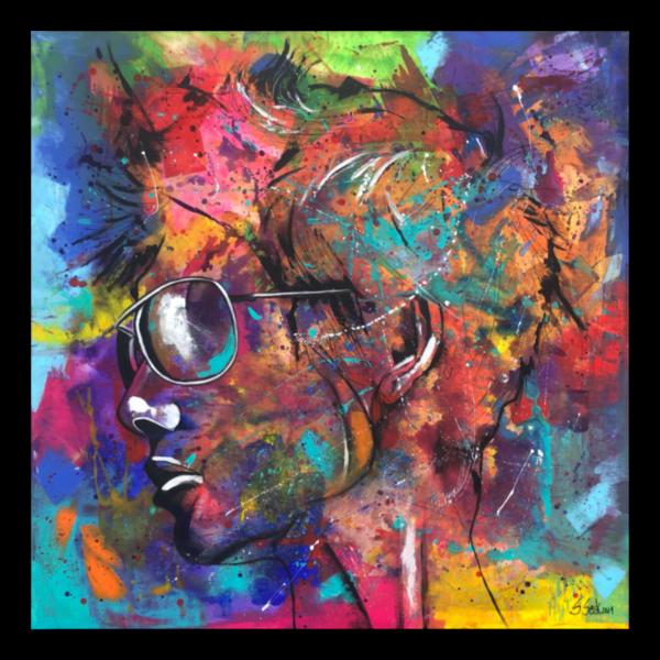 Acrylmalerei, Gesicht, Gemälde, Portrait, Sonnenbrillen, Popart