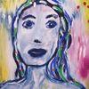 Frau, Gelb, Blau, Malerei