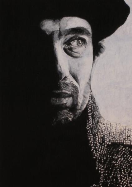 Bart, Hut, Pastellmalerei, Portrait, Mann, Malerei
