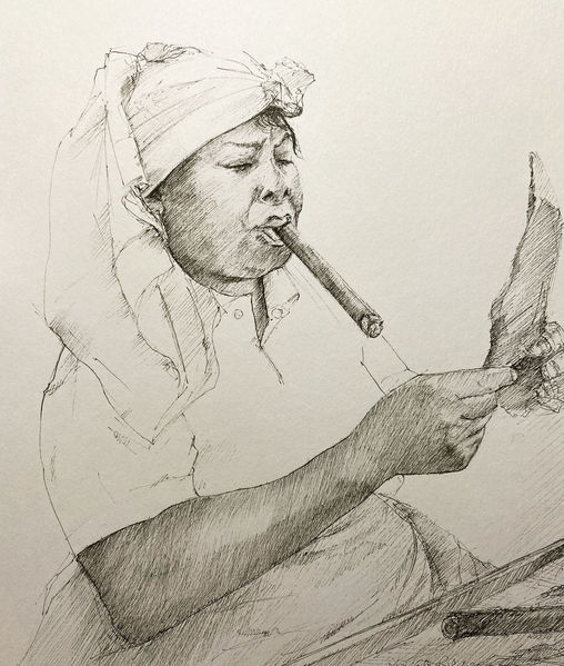 Frau, Arbeiterin, Portrait, Tuschmalerei, Zigarre, Freude