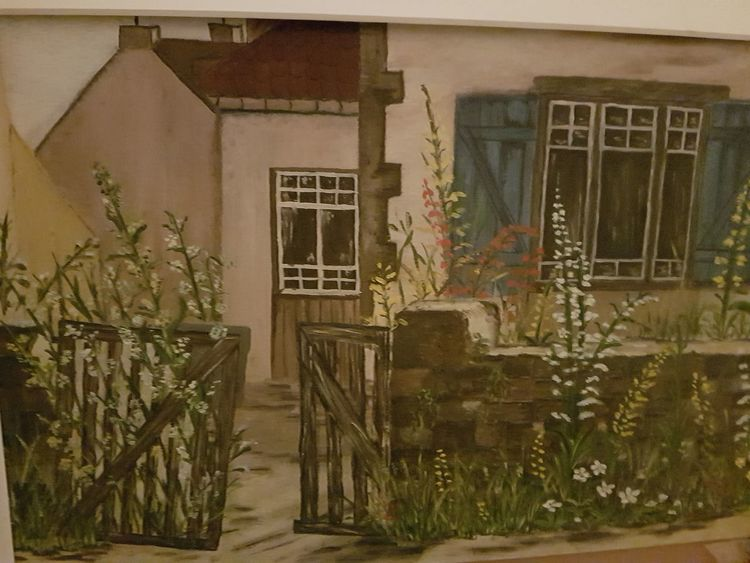 Haus, Garten, Alt, Malerei