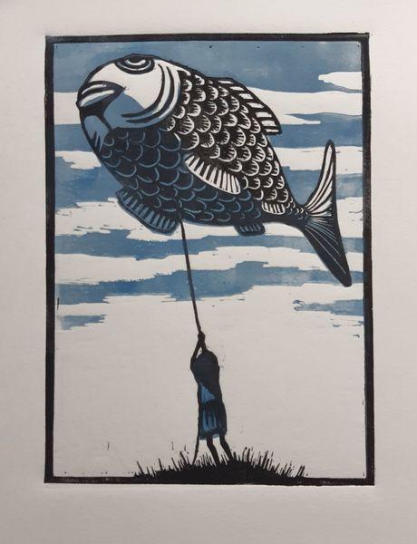 Linolschnitt, Fisch, Fliegen, Ballon, Druckgrafik