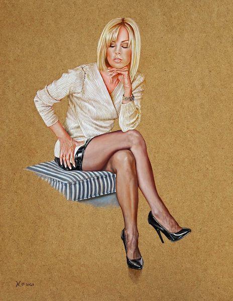 Traumfrau, High heels, Ölmalerei, Portrait, Frau, Menschen